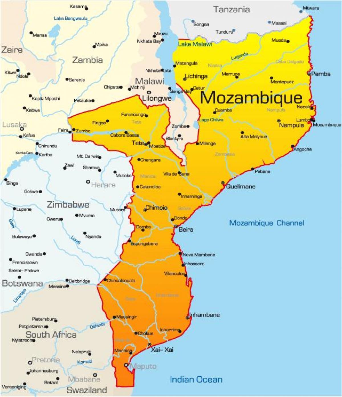 Mosambik Kart Med Avstander Kart Av Mosambik Kart Med Avstander